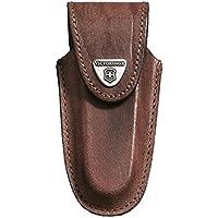 Victorinox Leder-Etui für Taschenmesser (Klettverschluss, Gürtelschlaufe, Geblockt, Braun, 3cm x 12.2cm) braun