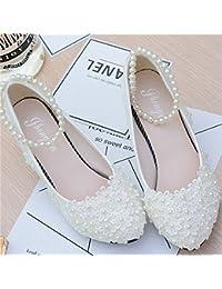 """JINGXINSTORE Tacones nupciales del zapato de la boda de la correa del cordón de la perla floral blanca, UK7, 4.5cm / 1.8 """""""