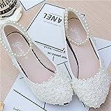JINGXINSTORE Weiße Blumen Perle Spitze Band Braut Hochzeit Schuh High Heel