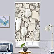 Roller Shades Insulated Blackout Curtains - 3D Printing Window Blackout Blinds Living Room Curtains Energy Sav
