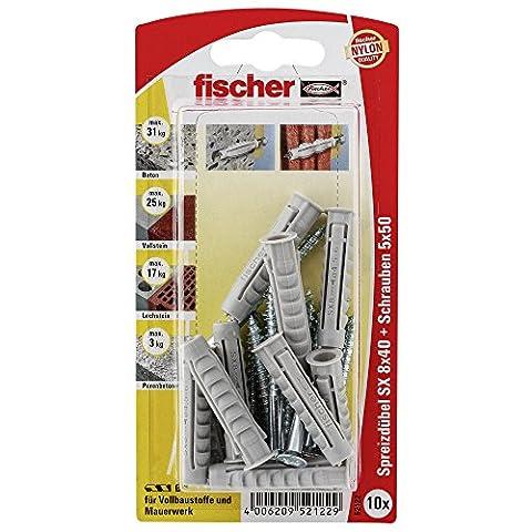 Fischer Spreizdübel SX 8 x 40 GKS K SB-Karte, 10 x Holzschraube 5 x 50, 052122