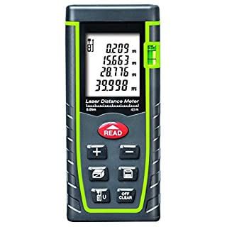 ARAS Laser Distance Meter 40m, Portable Handle Digital Measure Tool Range Finder with Bubble Level and Large Backlit LCD 4 Line Display(40m/131ft)