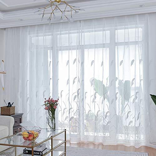 BW0057 Vorhang, durchsichtig, Stickerei, für Wohnzimmer, durchsichtige Vorhänge (1 Paneel B 50 x L 204,Zoll), Polyester-Mischgewebe, weiß, 50 * 84 Inch, 1 Panel - 78-zoll-gardinenstange