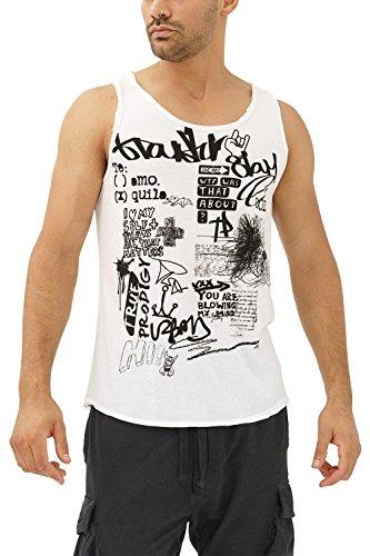 trueprodigy Casual Herren Marken Tank Top mit Aufdruck, Oberteil Cool und Stylisch mit Rundhals (Ärmellos & Slim Fit), Muscle Shirt für Männer in Bedruckt, Größe:M, Farben:Weiß