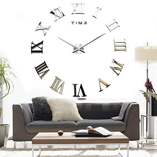 DIY 3D Wanduhren Modern Design Acryl Wanduhren Wandtattoo Dekoration fürs Wohnzimmer Kinderzimmer (Römische Nummer Silber)