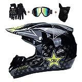 OUTLL Motocross Helm Set, mit Schutzbrille Handschuhe Maske, Volles Gesicht Absturz Modular Helm, Offroad Bergab Dirt Bike MX ATV Motorrad Kart Fahren Helm für Erwachsene Männer Frauen