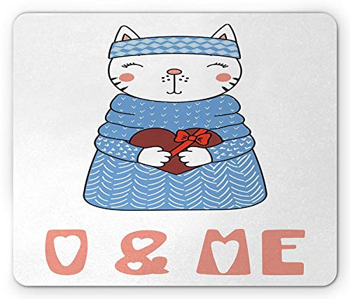 You and Me Mouse Pad, Cute Kitten in Blue Sweater with Present Box Valentines Celebration Gaming Mousepad Office Mouse Mat Coral Violet Blue White