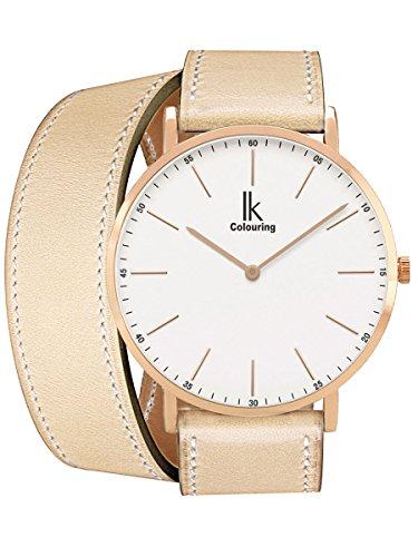 Alienwork IK Wrap2 Quarz Armbanduhr Ultra-flach Uhr Damen Uhren Doppel Wrap Zeitloses Design Leder rose gold beige 98469CL-06 (Damen Wrap Doppel)