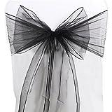 Bismarckbeer 10PCS sedia fusciacche Bow romantica decorazione per festa di nozze banchetto, Black, taglia unica