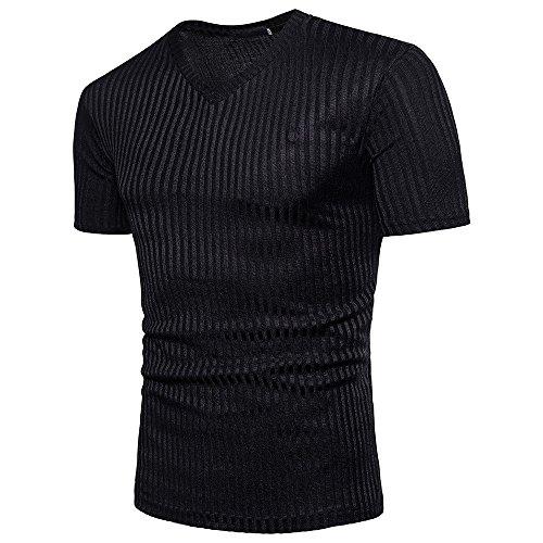 T-Shirt Herren WQIANGHZI Valueweight Stretch Hemd,Business Langarmshirts V-Ausschnitt Poloshirt Einfarbige Sport Top Tanktop Unterhemd Baumwolle M-3XL -