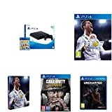 PlayStation 4 (PS4) - Consola De 500 GB, Color Negro + Voucher ¡Has Sido Tú! + FIFA 18 - Edición estándar + Steelbook FIFA 18 + Call Of Duty WWII + Uncharted: El Legado Perdido