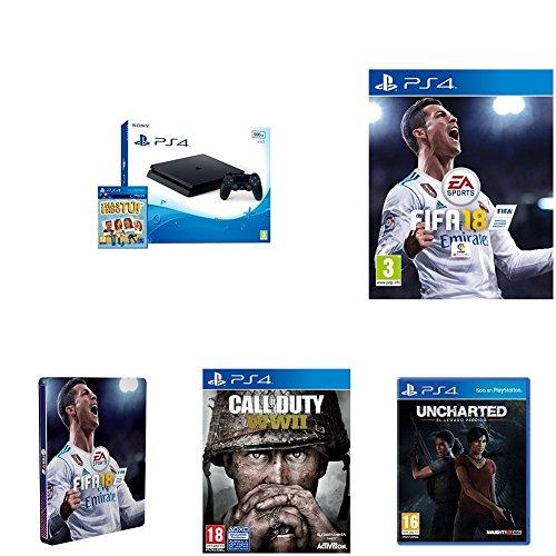 PlayStation 4 (PS4) - Consola De 500 GB, Color Negro + Voucher ¡Has Sido Tú! + FIFA 18 - Edición estándar + Steelbook FIFA 18 + Call Of Duty WWII + Uncharted: El Legado Perdido