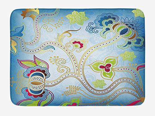 ASKYE Ethnic Bath Mat, Ethnic Arabian Eastern Design Ivy Swirls Flowers on Sky Blue Backdrop Artwork Print, Plush Bathroom Decor Mat with Non Slip Backing, 23.6 W X 15.7 W Inches, Multicolor White Swirl Glass Bowl