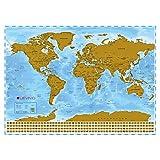 Levivo Weltkarte Rubbel Landkarte XXL mit Metallic-Beschichtung zum Freirubbeln, Papier, Mehrfarbig, 86 x 60.5 cm