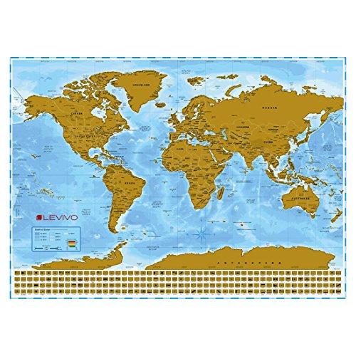 LEVIVO Weltkarte Rubbel Landkarte XXL mit Metallic-Beschichtung zum Freirubbeln, Papier, Mehrfarbig 86 x 60.5 cm