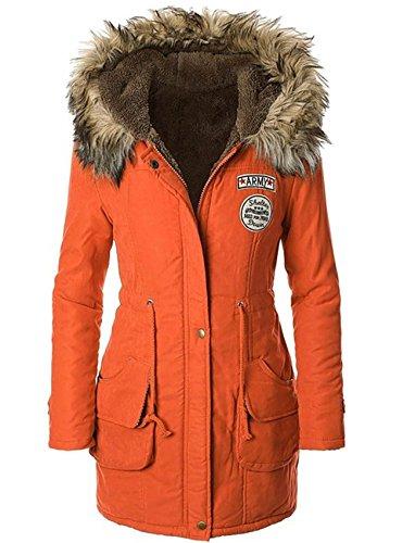 Ramonala Damen Wintermantel mit Kapuze Lange Zipper Fleece Winter Jacke Parka Wintermantel Mädchen Pelz Kapuze,Mehrfarbig