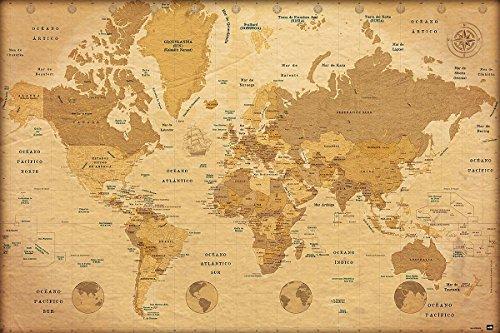 Póster Mapa mundo Vintage/Estilo antiguo