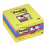 Post-it Notes Super Sticky Lignées 101 x 101 mm Jaune - Lot de 6 Blocs