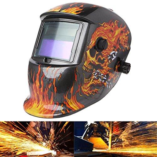 cuigu Máscara de Soldadura automática Casco Solar Auto oscurecimiento Máscara el Máscara UV/Llama de Calavera de Conservación de IR