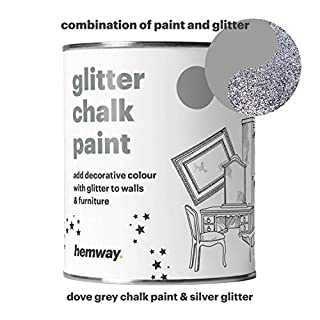 Hemway Dove Grey Chalk Paint (with Silver Glitter) Sparkle Matt finish Wall and Furniture Paint 1L / 35oz Shabby Chic Vintage Chalky Crystal (25 Glittery Colours Available)