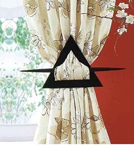 1 Gardinen Raffhalter Holz Dreieck Form Deko Spange Gardinenspange Vorhangspange Schwarz