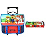 CARTABLE A ROULETTES 38CM + TROUSSES BLEU MARINE-PAW PATROL NICKELODEON