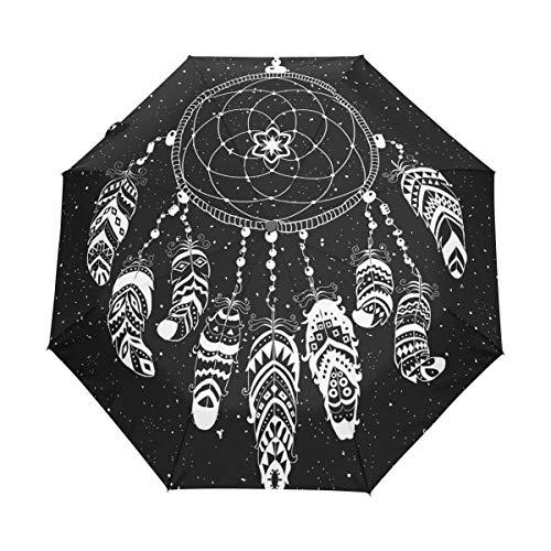 BIGJOKE Paraguas de 3 Pliegues con Cierre automático, atrapasueños Indio, Plumas, Resistente al Viento, liviano, para Viajes, para Lluvia, Compacto, para niños y niñas