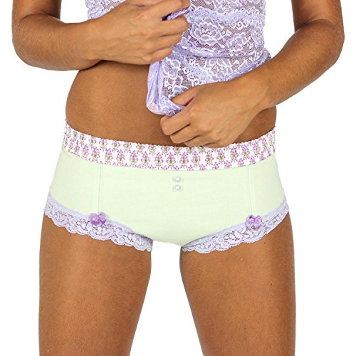 Mint Green Cheeky Boyshort with English Lavender Print FOXERS Band (Cheeky Boyshorts)