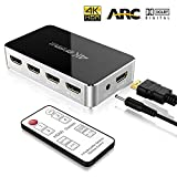 4 Port HDMI Switch, ONEDAY HDMI Umschalter mit Audio Optisch TOSLINK Out (5.1 Dolby Surround System / ARC), 4K 3D Ultra HD 2160p HDMI Verteiler mit IR Fernbedienung für TV Stick, DVD, HDTV, PS4, usw