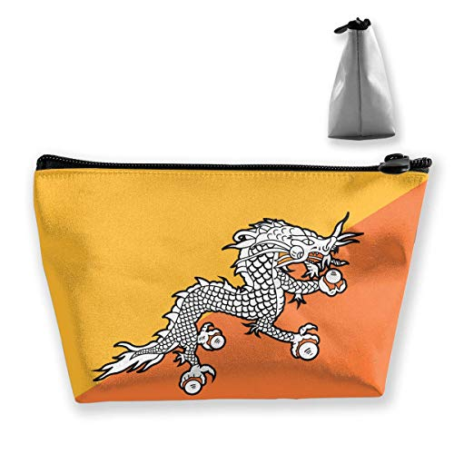 Bhutan Flag (Flag of Bhutan Travel Toiletry Bag Stylish Cosmetic Bag Brushes Bag Large Accessories Organizer)