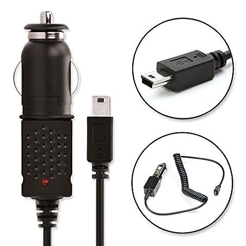 subtel® Chargeur voiture de Qualité - 1.5m (1A / 1000mA) pour Garmin Nüvi 3597, Oregon 600, Drive 40, Zumo 210, Edge 500, Montana 610, Etrex 30 (5V / Mini USB ) Chargeur Câble Secteur