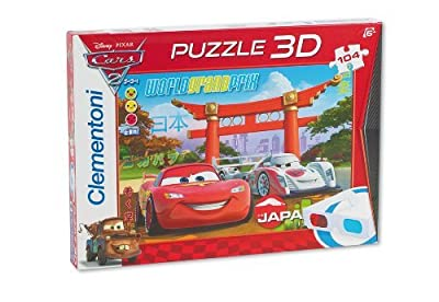 "Clementoni 20043.6 Magic 3D - Puzzle en 3D diseño de Cars 2: ""We`ll keep you in the Race"" (104 piezas) [Importado de Alemania] por Clementoni"