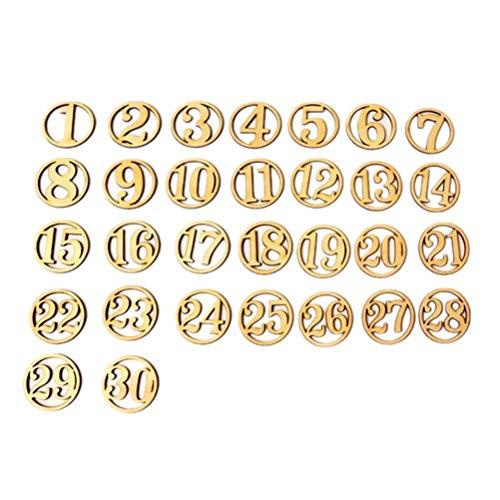Amosfun Holz Zahl 1-30 Ausschnitte Holz Verzierung Holzstücke Learning Spielzeug für DIY Tischnummer Geschenkanhänger 30 Stück
