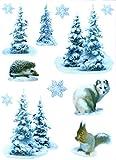 deko-punkt-roth. Fenstersticker Set 12-tlg. Huskie Hund Tannen Schnee Igel Eichhörnchen Fensterdeko Fensterbild Weihnachten Winter Weihnachtsdeko