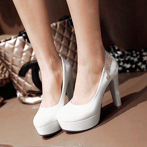 Mee Shoes Damen high heels Plateau Geschlossen Pumps Weiß