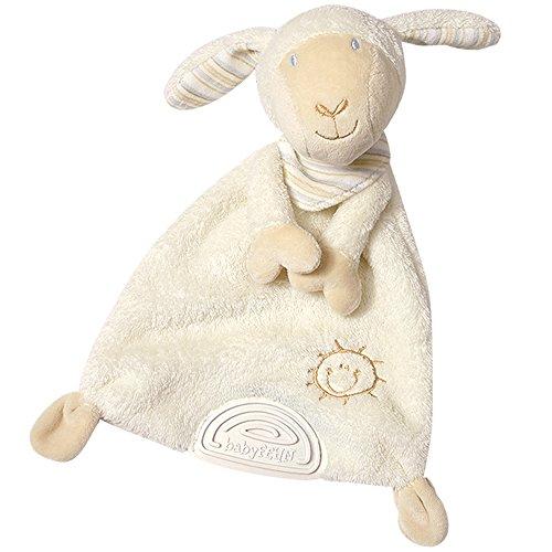Fehn 154436 Schmusetuch Schaf / Stofftier-Schnuffeltuch mit Softbeißer zum Kuscheln, Greifen, Fühlen für Babys und Kleinkinder ab 0+ Monaten