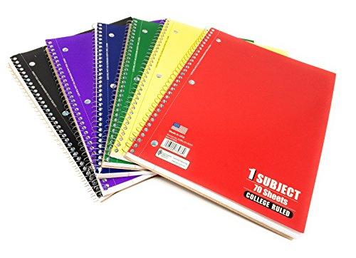 ege liniert Spiralbindung 70Tabelle Notebooks (Pack von 6) ()