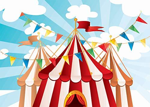 5M Zirkus Karneval Party Vinyl Fotografie Hintergrund zum Baby Kinder Geburtstag Dekoration Brauch Bunt Banner Foto Hintergrund Foto Studio Prop 11-084 ()