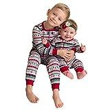 Internet 2 PCs Bébé Garçon T-shirt Tops Noël + Pantalons Tenues Maison Pyjamas Noël Frère Ensemble (Bébé, 12 Mois)