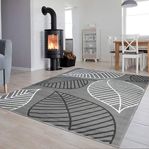 Tapiso Luxury Teppich Kurzflor Grau Schwarz Weiss Modern Blatt Abstrakt Floral Muster Wohnzimmer Jugendzimmer ÖKOTEX 80 x 150 cm -