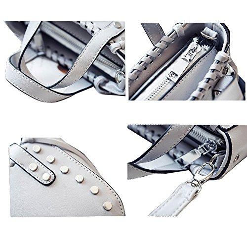 Gaorui Damen Handtasche Nieten Schultertasche aus PU Leder Klein Minitasche Größe 15*14*7cm Grau
