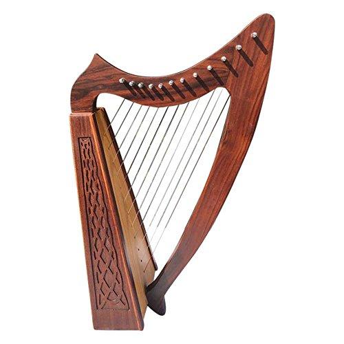Irische Harfe 12Saiten Sheesham Holz/Celtic Harps Rose Holz Kostenloser Tragetasche