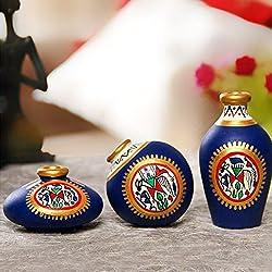 ExclusiveLane Terracotta Warli Handpainted/Designer / Unique Pots Blue Set Of 3- Gift item