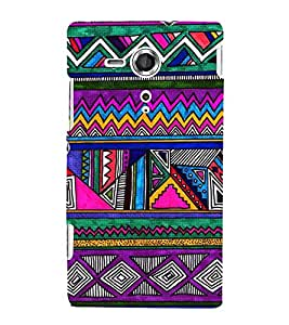 Fiobs Designer Back Case Cover for Sony Xperia SP :: Sony Xperia SP HSPA C5302 :: Sony Xperia SP LTE C5303 :: Sony Xperia SP LTE C5306 (Triangles Pyramid Colorful Patterns )