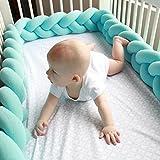 Ruimin cuscino a forma di cuscino intrecciato nodo paracolpi culla paraurti nursery Bedding decorative, Blue, 2 m