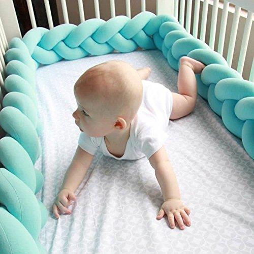 GUOYIHUA treccia cuscino, paracolpi intrecciata a mano nodo cuscino decorativo Cuscino Baby Bedding Gift rotaie, schermo per lettino, Blue, 1 m