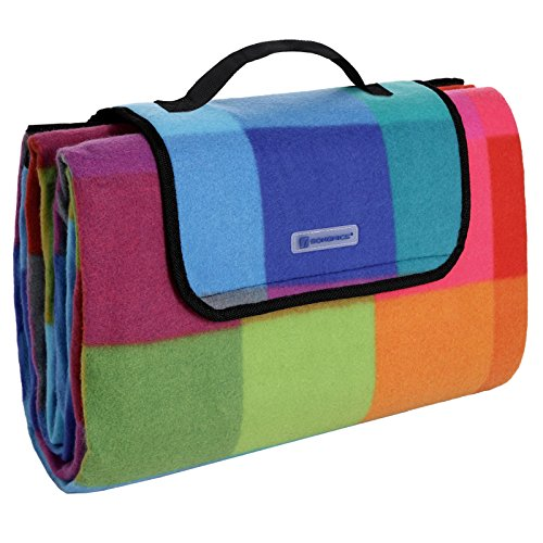 SONGMICS 195 x 150 cm Picknickdecke Fleece wasserdicht GCM61C