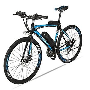 Extrbici Vélo de Ville électrique RS600 700C 240W 36V 15A Bicyclette Homme en Alliage d'Aluminium Shimano TZ-21 Vitesses avec Suspension de la Fourchette, Couleur Gris Cyrusher (Noir Bleu)