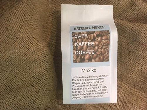 Natural mente - Grains de café en jalte nango/Chiapas/Mexique, frais geröstet, grains de café origine : Le Mexique, 100% Arabica, 500g