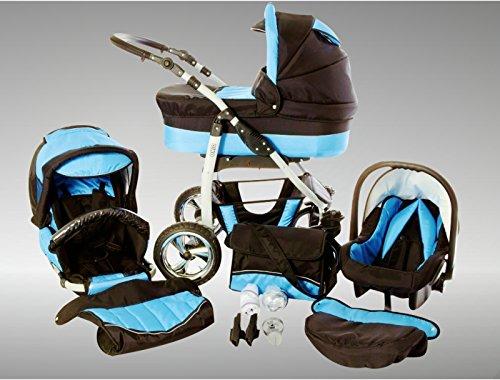 Chilly Kids Dino Cochecito de bebé combinado 3 en 1 - Cochecito de bebé y silla de paseo; Parasol (cubierta de la lluvia, mosquitero, adaptador de asiento de coche, ruedas giratorias, 55 colores) 030 Negro / Turquesa
